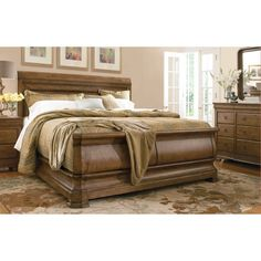 New Lou Louie Ps Sleigh Bed - Cognac, Size: Queen - UNIR1973-1