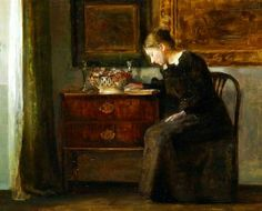 Carl Holsöe  Woman Reading in an Interior  Early 20th century