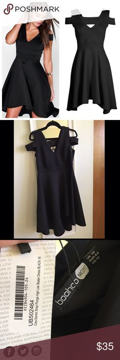"Black Scuba High Low/ Fit & Flare Dress 95% Polyester, 5% Elastane. Flat Measurement of Garment: Shoulder To Hem 104cm/41"", Bust 36cm/14"", Waist 32cm/12.5"", Hip 41cm/16"". Machine Washable. Dresses High Low"