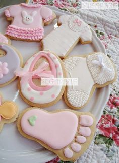 Baby Shower Cookies~          By sugarbug, pink, bib, Onesie, baby feet