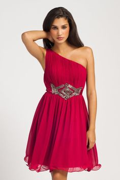 Berry One Shoulder Pleated Embellished Waist Prom Dress #prom_dress