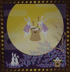 'Rabbits Pounding Mochi Rice Cakes' Furoshiki Cotton Japanese Fabric 50cm