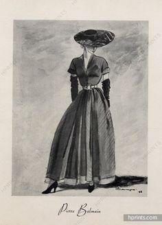 1960s Vintage Fashion Illustration Hat And Suit Jan