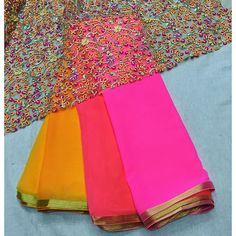 """4d chiffon shaded saree with fancy blouse piece To purchase mail us at…"