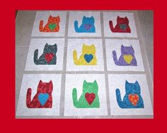Set of  9   Scrappy Kitty Cat with Heart   Applique Quilt  Blocks   #Unbranded