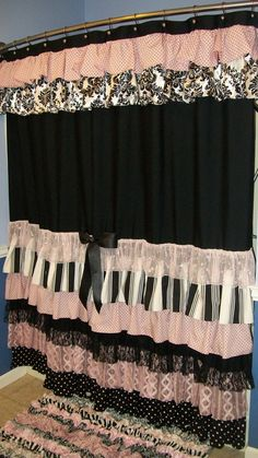 Shower Curtain Cascading Ruffles Custom Made Designer Fabric  Black, Pink, White Damask, Stripes, Dots Lace