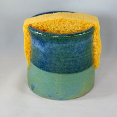 Stoneware pottery sponge holder, blue and green glaze - pinned by pin4etsy.com