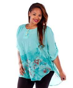 Amazon.com: Mint Green Floral Print Chiffon Hi-Lo Plus Size Tunic - 6X: Clothing