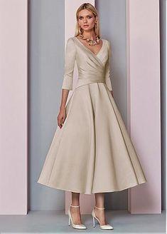 71cb332ee95 Buy discount Graceful Satin V-neck Neckline Tea-Length A-line Mother Of The Bride  Dress at Ailsabridal.com