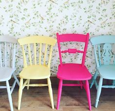 Mismatched Painted Dining Chairs from Rosie Loves Vintage