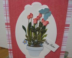 Tulips and butterfly handmade easter card