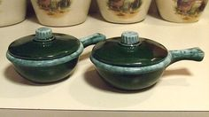 TWO Old Hull McCoy Green Drip Oven Proof USA by SOLD SOLD SOLD