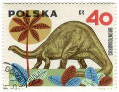 Poland postage stamp: brontosaurus, c. 1965,  designed by Andrzej Heidrich. via Karen Horton