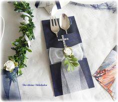 Serviettentasche Bestecktasche blau mit Kreuz Kommunion Konfirmation Silverware Holder, Big Day, Sewing Crafts, Arts And Crafts, Gift Wrapping, Table Decorations, Tableware, Party, Diy