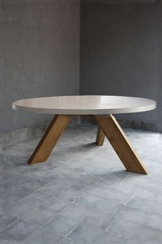 Modern Outdoor Concrete and Reclaimed ElmDining Table with Concrete Top and V Style Teak Three LeggedBase Suitable For Outdoor Use  Also Available AsModern Reclaimed Elm Plank Dining Table