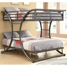This+is+a+fun+and+stylish+full+over+full+size+bunk+bed+by+Coaster+Furniture,+the+gunmetal+color+gives+the+contemporary+decor+for+any+child.+The+metal+curve+design+softens+and+holds+the+sturdy+support+of+the+bed.+Whether+you+seeking+space+saving+features+or+simply+a+fun+and+attractive+piece,+this+twin+bunk+will+give+your+child's+bedroom+an+updated+look.