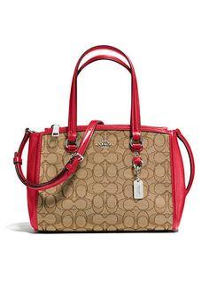 Handbag Coach SV/Khaki/True Red Stanton Carryall 26 Signature Jacquard Zip Satchel  #Doris_Daily_Deals #Bonanza