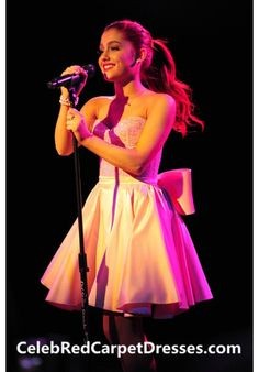 Ariana Grande Pink Mini skirt Cocktail Homecoming Party TJ Martell Foundation Concert