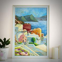 "Original Landscape Painting, ""Santorini"" Acrylic Painting, Landscape Art, Original Artwork, Wall Art Canvas, 40cm(w) x 60cm(h) by AngelinaRunkovaArt on Etsy"