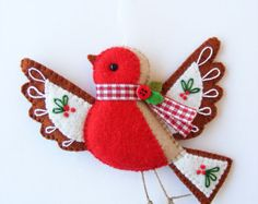 PDF pattern Felt robin. Christmas tree ornament by iManuFatti