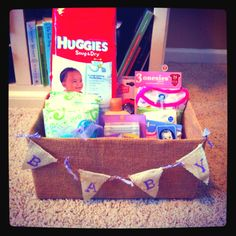 Burlap Gift box for a baby shower