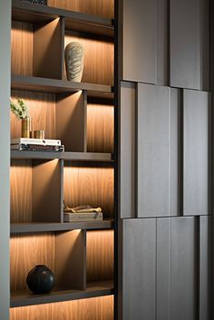 Image 23 of 48 from gallery of House of the Second Narration / RDMA. Photograph by Mario Wibowo Photography Modern Apartment Design, Office Interior Design, Modern Interior, Shelving Design, Wall Design, House Design, Bookshelf Design, Design Table, Interior Design Living Room