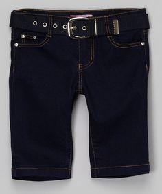 Navy Denim Belted Bermuda Shorts - Girls
