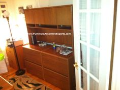 bush commercial lateral file cabinets with hutch installed in Washington DC by office furniture installation experts