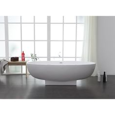 "StreamlineBath Solid Surface Resin 67"" x 31"" Freestanding Soaking Bathtub with Internal Drain 