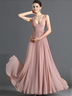 A-line V-neck Chiffon Pearl Pink Long Prom Dresses/Evening Dress With Ruffles #USALF290