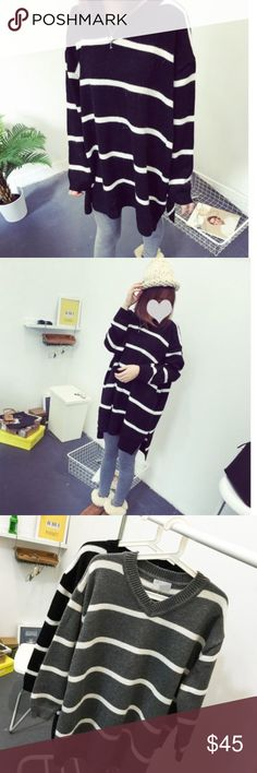 """Oversized Grey stripped sweater Material: acrylic, length: 30.7-32.7"""" bust: 55-57"""" shoulder to shoulder: 22"""" sleeve length 19.6"""" Sweaters"""
