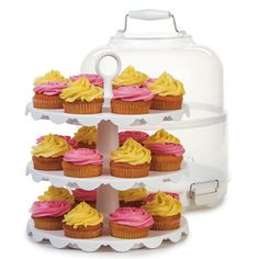 The Cupcake Carrier by Progressive is a collapsible three-tiered 24-capacity…