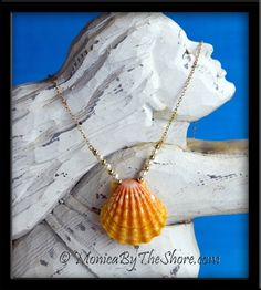 Papaya Pearl Sunrise Shell Gold Chain Necklace ~ for  the Mermaids!