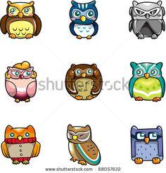 stock vector : cartoon owls icon