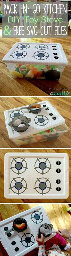 'N' Go Kitchen DIY Toy Stove Tutorial + Free SVG Cut Files DIY Toy Stove. This is brilliant! A little portable toy kitchen you can make yourself. This is brilliant! A little portable toy kitchen you can make yourself. Kids Crafts, Projects For Kids, Diy For Kids, Diy Projects, Toddler Crafts, Infant Activities, Activities For Kids, Diy Bebe, Ideias Diy
