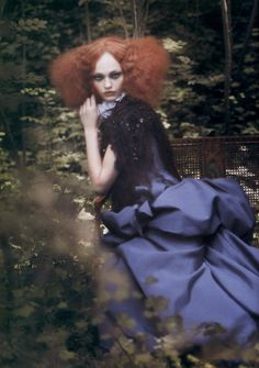 SHOOT 7. Mad Hatter Editoral. Hair exactly like this, big purple gown, smoke bombs wondering through woodland area. Possible designer already located.
