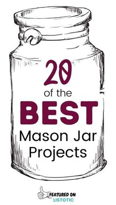 Huge List of 20 super simple DIY projects you can make with mason jars. Make great gifts and home decor ideas. Mason Jar Projects, Mason Jar Crafts, Easy Diy Crafts, Diy Craft Projects, Craft Ideas, Simple Diy, Super Simple, Chalkboard Mason Jars, Mason Jar Lids