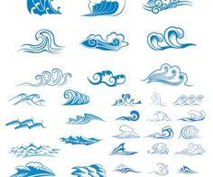 Sea waves symbols vector