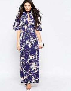 Liquorish Maxi Dress With Kimono Sleeves In Blurred Floral Print White Maxi  Dresses cd1917fe1
