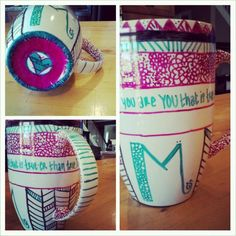Homemade Mug. Use any color sharpie and customize your own mug. Be sure, when you're finished, to bake in the oven at 350° for 20-30 minutes so the design doesn't come off when you wash it. A great craft for cheap but personal Christmas gifts or just to make yourself one happy cup of hot cocoa!