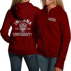 Indiana Hoosiers Ladies Crimson Victoria Full Zip Hoodie Sweatshirt