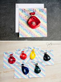 Rainbow Themed First Birthday Party Balloon Invitations - so cute!