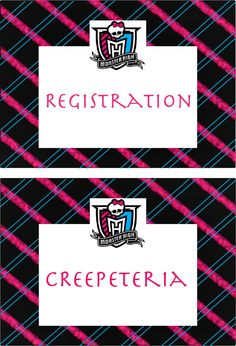 Monster High party sign collection by dotanddashparties on Etsy, $10.00
