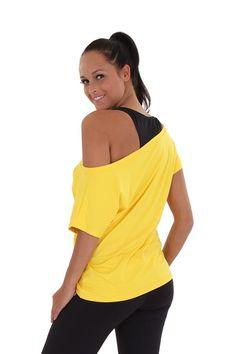 Geel Sport Shirt met boothals en PIXIE SPORT opdruk | PIXIE SPORT Shirt | http://www.pixie.nl/sport-shirt-geel.html