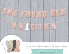 She Found Her Unicorn Printable Banner Kit // Bachelorette Party // Rose Gold w 5 Glitter Penis // Lingerie // Wedding // Bridal Shower – Lingerie Shower Bridal Lingerie Shower, Gold Bridal Showers, Wedding Lingerie, Bridal Shower Games, Lingerie Party, Bridal Planner, Bachelorette Weekend, Bachelorette Ideas, Bachelorette Party Decorations