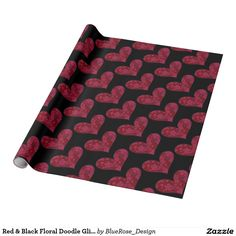 Red & Black Floral Doodle Glitter Heart Wrapping Wrapping Paper | Customize with your choice of background color.