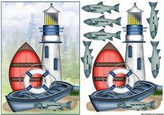 Male Card Lighthouse fishing on Craftsuprint designed by Marijke Kok - great male card for any occasion... - Now available for download!