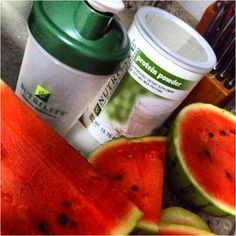 Watermelon protein shake! #poweredbynutrilite #onthego  Recipe:  - a really big piece of watermelon - 1 scoop of Nutrilite protein powder - 1 teaspoon of agave   Blend until smooth. Drink very relaxed. :)