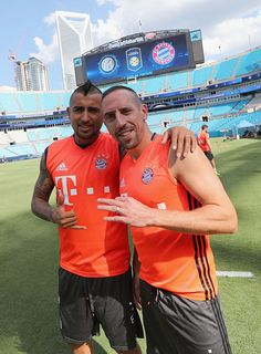 Franck Ribery and Arturo Vidal of FC Bayern Muenchen pose as they arrive for a training session at the AUDI Summer Tour USA 2016 on July 29 2016 at...