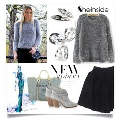 """shein mohair loose sweater"" by mica-03 ❤ liked on Polyvore featuring Le Mont St. Michel, Chanel, rag & bone, women's clothing, women, female, woman, misses and juniors"